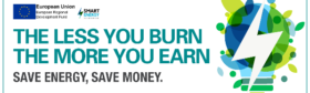 "European Regional Development Fund logo image with slogan ""The less you burn, the more you earn, Save Energy, Save Money."" on white background."