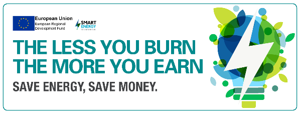 """European Regional Development Fund logo image with slogan """"The less you burn, the more you earn, Save Energy, Save Money."""" on white background."""